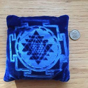 Sri Yantra velvet display pillow in blue